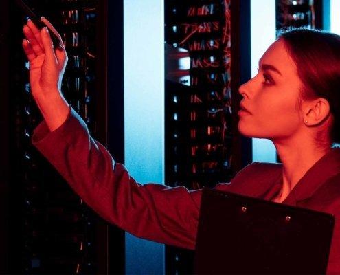 Woman checking server status